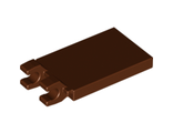 Tile, Modified 2 x 3 with 2 Clips (thick open O clips), Reddish Brown (30350b / 4544525)