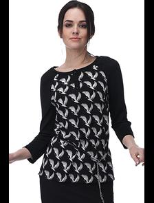 Блуза из трикотажа с шифоном Мари-лайн-1241 (черный). Размерный ряд: 48-54