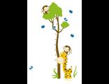 Многоразовая наклейка ростомер в детскую комнату Жираф обезьянки