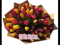 101 Тюльпан в разном цвете в крафте