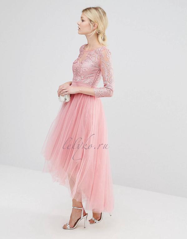 7a798946ab3 Вечернее коктейльное нежно-розовое выпускное платье 2017 с рукавами и пышной  фатиновой юбкой