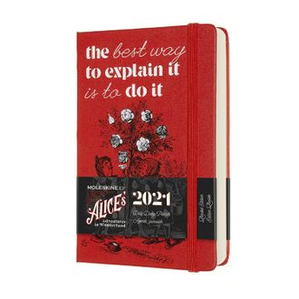 "Ежедневник Moleskine 2021, ""Alice's Adventures in Wonderland"", Pocket, красный"