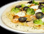 Пицца Атлантида 29 см, 540 гр: мидии, креветки, брокколи, помидоры, сыр Филадельфия, соус белый, 1029 Ккал