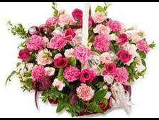 Корзина из гвоздик розовой и красной 51 гвоздики