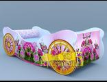 Кроватка карета  розы с бабочкой