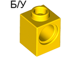 ! Б/У - Technic, Brick 1 x 1 with Hole, Yellow (6541 / 654124) - Б/У