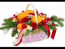 Корзины на новый год с цветами и фруктами