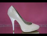Туфли свадебные айвори кожа лаковые на платформе средний каблу №  AS-143-ASN08-143=К13