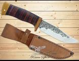 Нож Туристический НС-15 (Рукоять: наборная кожа, Сталь: ЭИ-107, Тыльник: текстолит)