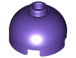 Brick, Round 2 x 2 Dome Top - Hollow Stud with Bottom Axle Holder x Shape + Orientation, Dark Purple (553c / 6152517)