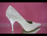 Свадебные туфли светлое айвори кремовое острый мыс средний каблук украшены нитью серебренной  купить