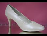 Свадебные туфли айвори кожаные средний широкий каблук № 075348-01=01