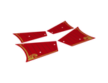 Plastic Sails Ninjago with Gold Trim and Dark Red Lines on Red Background Pattern, Sheet of 4, n/a (21763c01)