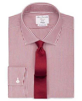 Рубашка T.M.LEWIN Fitted Red Bengal Stripe Poplin Shirt