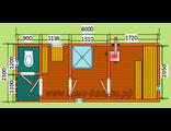 """Схема готовой  бани - размером 6 х 2,3 м. с крыльцом и туалетом. Печь """"Валдай"""" труба выходит в стену"""