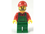Farmer - Red Cap and Flannel Shirt, Dark Bluish Gray Beard, Green Overalls, n/a (cty0984)