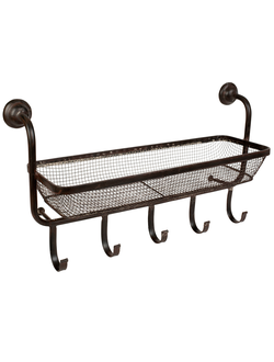 200508 COAT RACK BASKET 5 HOOK VALENS BROWN 60X18X34 IRON