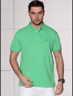 Поло GANT, однотонная с логотипом, цвет зеленый