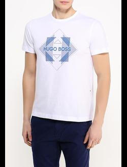 Футболка Hugo Boss Green Label однотонная с принтом, цвет белый