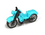 Motorcycle Vintage, Complete Assembly with Black Chassis and Light Bluish Gray Wheels, Medium Azure (85983c01)