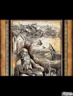 """Иллюстрация """"Легендарный композитор и акын"""""""