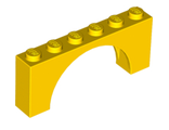 Brick, Arch 1 x 6 x 2 - Medium Thick Top without Reinforced Underside, Yellow (15254 / 6052782 / 6192924)