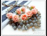 Украшения из натуральных камней. Комплект украшений из агата. Украшения с цветами из ревелюра фоама.