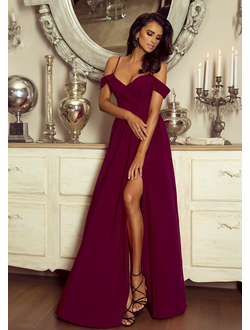 29cab69385e Вечернее платье цвета марсала со спущенными плечами