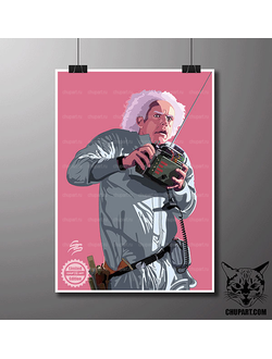 Доктор Эмметт Браун / Emmett Lathrop Brown - размер 31х40 (см)