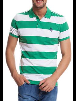 Поло U.S. Polo Assn с логотипом, в широкую горизонтальную зеленую и белую полоски