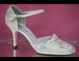 Свадебные белые открытые туфли с закрытым носиком и пяткой круглый мыс  № МА80436-96=96