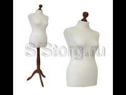MDB-1 R (42-44 ) Манекен портновский женский мягкий белый на деревянной подставке