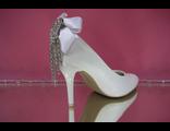 Свадебные туфли кожаные белые на пятке бант стразы серебро средний устойчивый каблук купить каталог