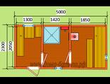"""Схема готовой  бани - размер 5 х 2,3 м. Печь """"Ермак"""" дымовая труба в крышу, бак с нагревателем воды,"""