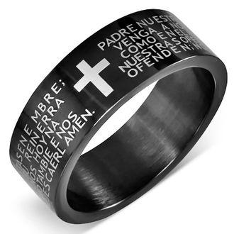 PADRE NUESTRO, кольцо, на палец, мужское, молитва, крест, колечко, ring, отче наш, ювелирное, сталь