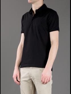 Поло Fendi, однотонная с логотипом, цвет черный