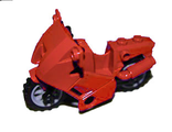 Motorcycle City, Complete Assembly with Black Chassis (Long Fairing Mounts) and Light Bluish Gray Wheels, Red (52035c02)