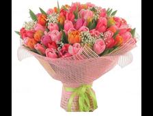 Букет из 51 Тюльпана розовый поцелуй