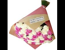Букет из 51 розы Сливочное Поздравление