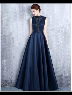 9909a656fc525e8 Синее вечернее платье с атласной юбкой