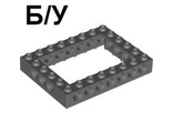! Б/У - Technic, Brick 6 x 8 Open Center, Dark Bluish Gray (40345 / 4210937) - Б/У