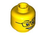 Minifigure, Head Dual Sided Black Glasses, Smile / Scared Pattern - Hollow Stud, Yellow (3626cpb0585 / 4623948 / 4642507)