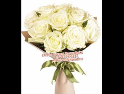 9 белых роз в белом оформлении Милые Поздравления