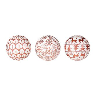 Шары декоративные DECORATIVE BALL X3 CARMIN WHIT+RED D10CM POLYRESINарт.31836