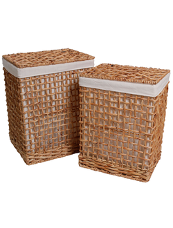 Корзины в наборе из 2х штук, PASIL Panier ? linge x2 Set of 2 laundry baskets Naturel / Natural Jacinthe d'eau + fer + coton / Water hyacinth + iron + cotton 44 x 35 x H56 + 39 x 30 x H52cm