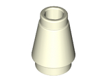 Cone 1 x 1 with Top Groove, Glow In Dark White (4589b / 6009091)