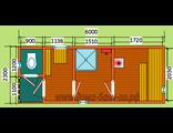 """Схема готовой брусовой бани - размером 6 х 2,3 метра с крыльцом и туалетом. Печь """"Ермак"""" труба выход"""