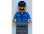 Blue Jacket with Pockets and Orange Stripes, Dark Bluish Gray Legs, Dark Blue Cap with Hole, Black Beard, n/a (cty0576)
