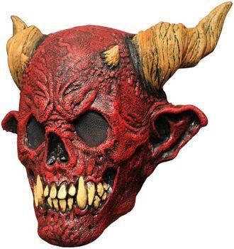 демон, дьявол, рога, красная, смерть, клыки, зубы, череп, маска, латекс, латексная, ужасная