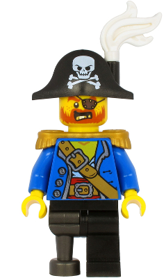 Pirate Captain - Bicorne Hat with Skull and White Plume, Pearl Gold Epaulette, Blue Open Jacket, Black Leg and Pearl Dark Gray Peg Leg, n/a (pi185)